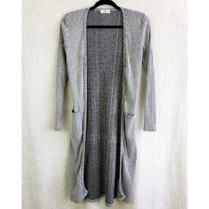 Grey Ribbed Long Duster Cardigan with Pockets